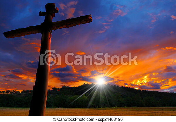 Cross Silhouette at the Sunset - csp24483196