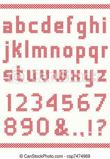 Cross stitch alphabet - csp7474969