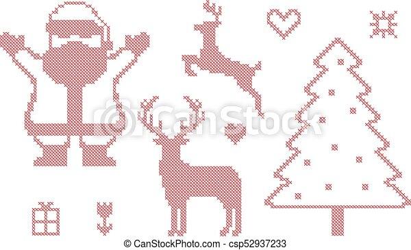 Cross Stitch Christmas Symbols Vector Vectors Search Clip Art