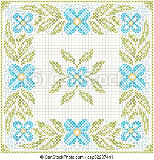 Cross-stitch embroidery - flowers and leaves - csp32237441