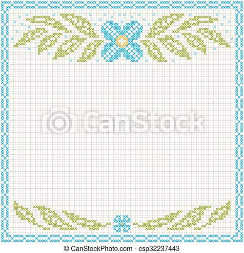 Cross-stitch embroidery - flowers and leaves - csp32237443
