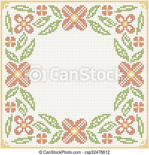Cross-stitch embroidery - flowers and leaves - csp32478612