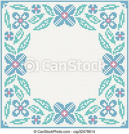 Cross-stitch embroidery - flowers and leaves - csp32478614