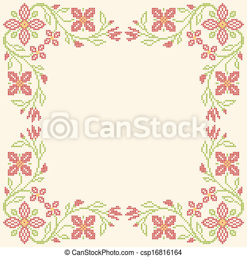 Cross-stitch embroidery in Ukrainian style - csp16816164