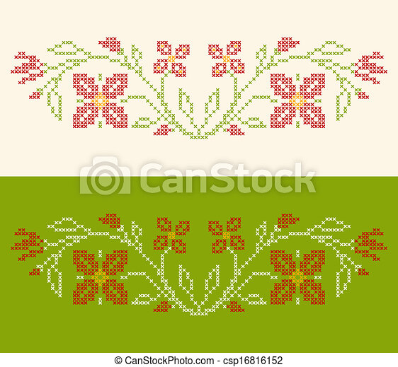 Cross-stitch embroidery in Ukrainian style - csp16816152