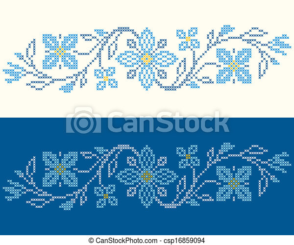 Cross-stitch embroidery in Ukrainian style - csp16859094