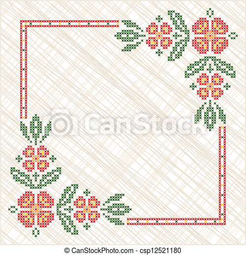 Cross-stitch embroidery in Ukrainian style - csp12521180
