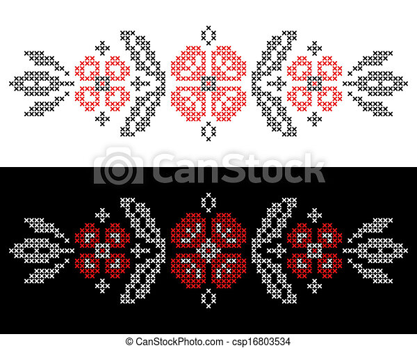 Cross-stitch embroidery in Ukrainian style - csp16803534