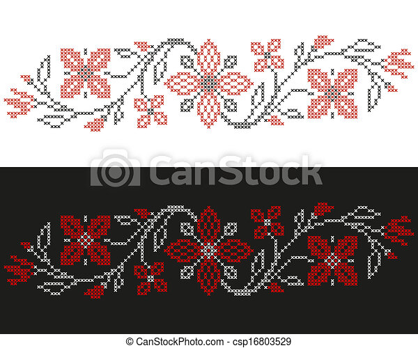 Cross-stitch embroidery in Ukrainian style - csp16803529