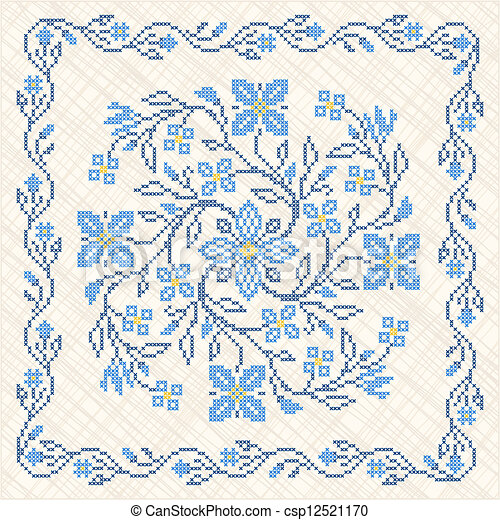 Cross-stitch embroidery in Ukrainian style - csp12521170