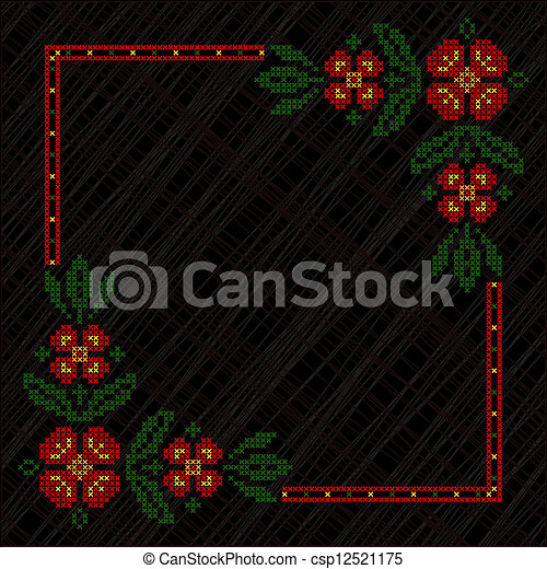 Cross-stitch embroidery in Ukrainian style - csp12521175