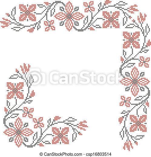 Cross-stitch embroidery in Ukrainian style - csp16803514