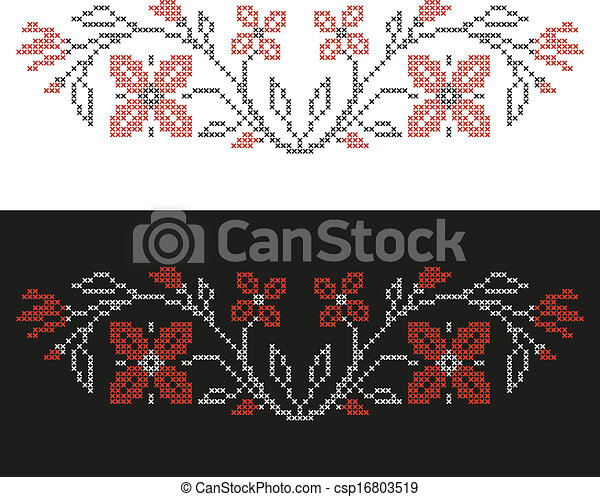 Cross-stitch embroidery in Ukrainian style - csp16803519