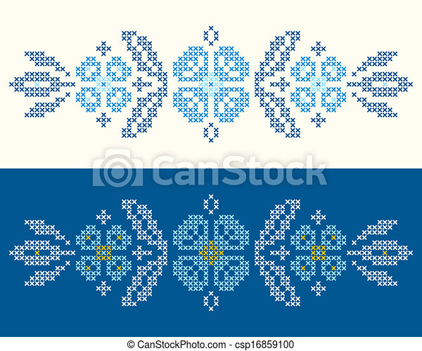 Cross-stitch embroidery in Ukrainian style - csp16859100