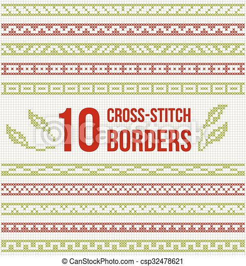 Cross-stitch embroidery - set of borders - csp32478621