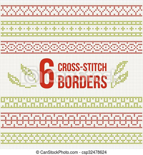 Cross-stitch embroidery - set of borders - csp32478624