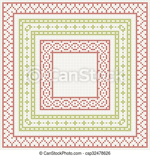 Cross-stitch embroidery - set of borders - csp32478626