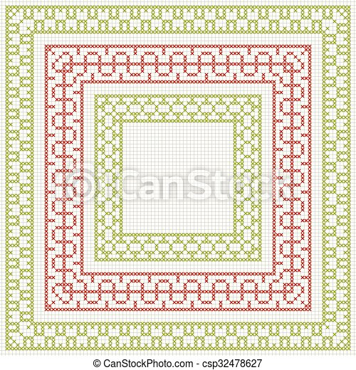 Cross-stitch embroidery - set of borders - csp32478627