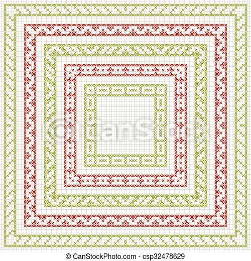 Cross-stitch embroidery - set of borders - csp32478629