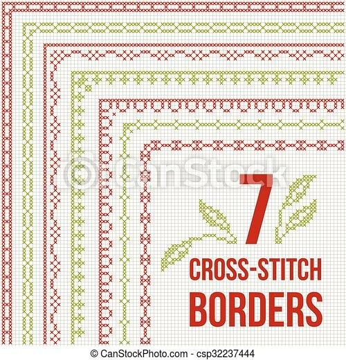 Cross-stitch embroidery - seven thin borders - csp32237444
