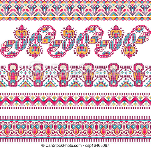 cross-stitch ethnic Ukraine pattern - csp16465067