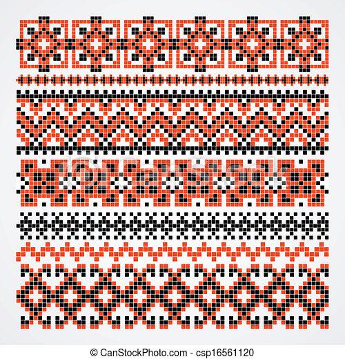 cross-stitch ethnic Ukraine pattern - csp16561120