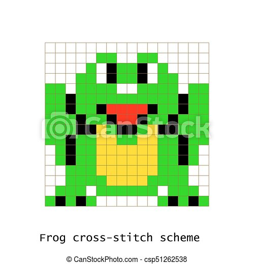 Cross Stitch Pixel Art Frog Animals Vector Set