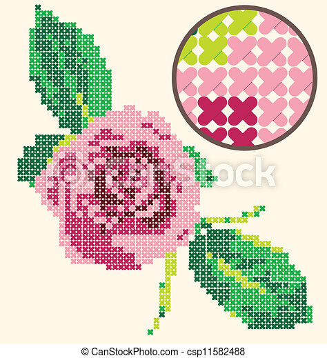 Cross Stitch Rose Embroidery - csp11582488