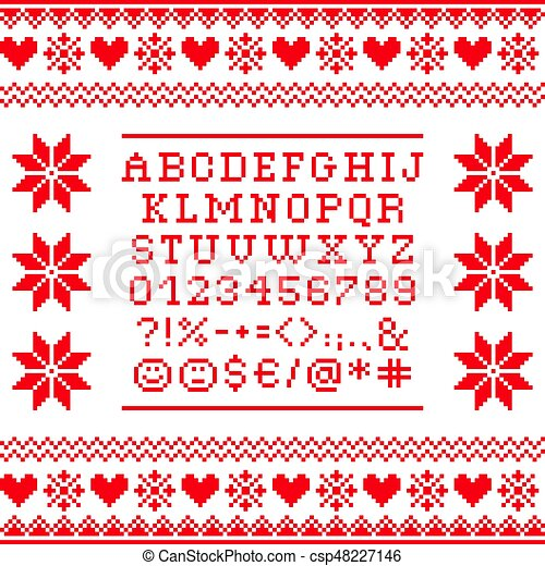 Cross stitch uppercase alphabet with numbers and symbols pattern, embroidery design - csp48227146