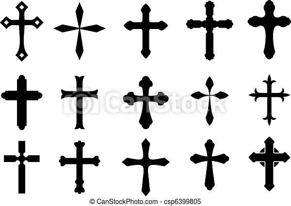 Cross Symbols Set Of Religious Cross Symbols Isolated On White