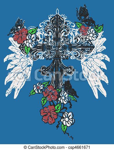 cross with rose emblem - csp4661671