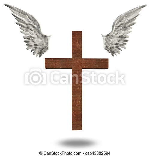 Clip Art Illustration of a Gothic Cross With Wings