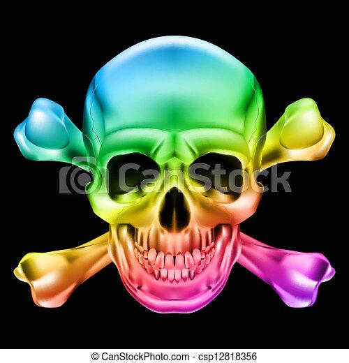Cráneo y huesos cruzados - csp12818356