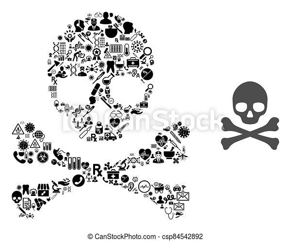 crossbones, salud, muerte, mosaico, artículos - csp84542892
