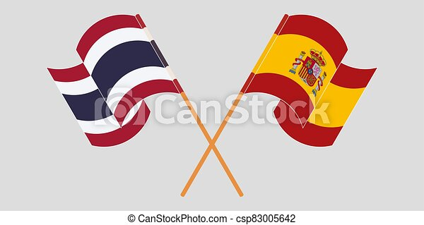 Crossed and waving flags of Thailand and Spain - csp83005642