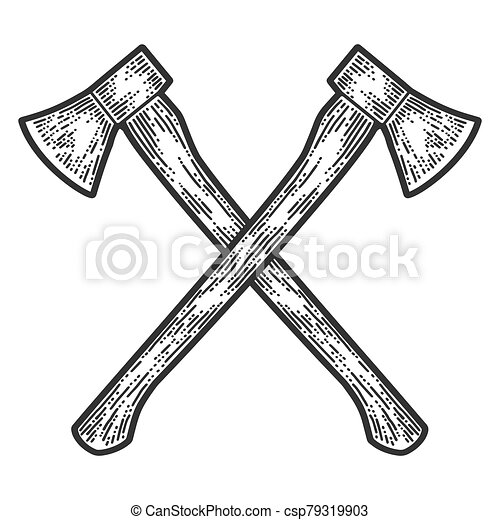 Crossed axes engraving. Apparel print design. Scratch board imitation. Black and white hand drawn image. - csp79319903