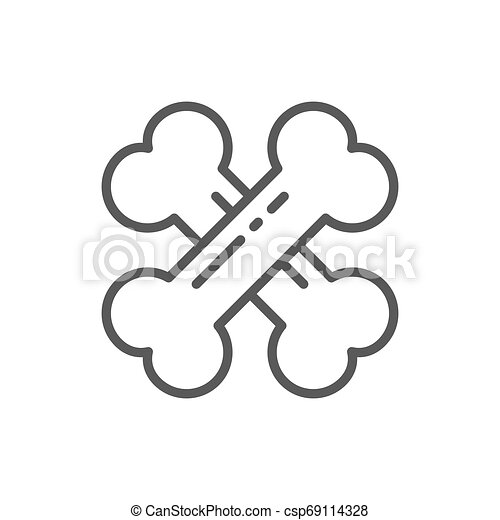 Crossed bones line icon. - csp69114328