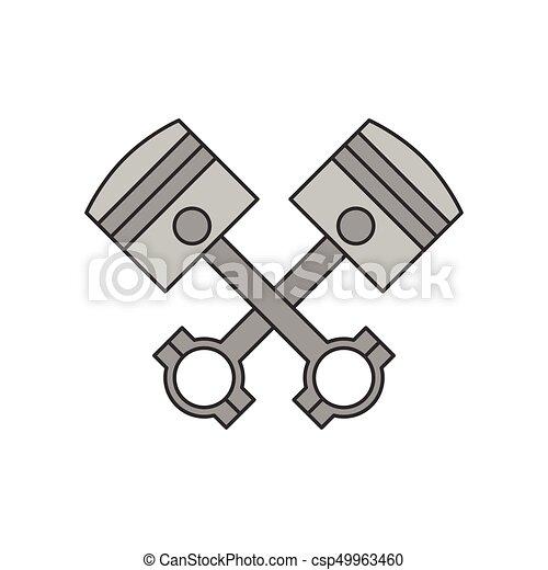 Crossed engine pistons icon - csp49963460