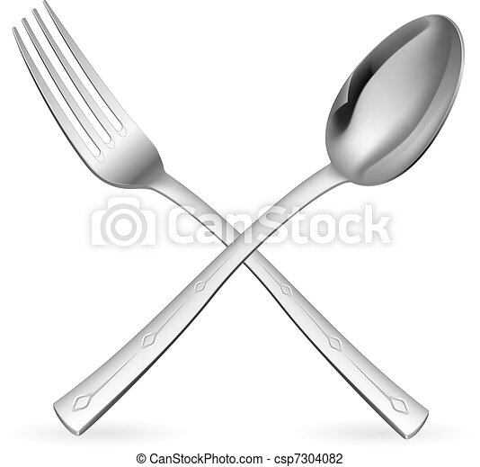 Crossed fork and spoon. - csp7304082