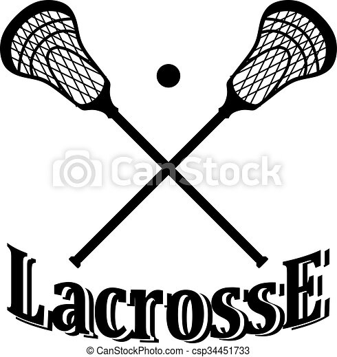 crossed lacrosse stick and ball vector illustration vectors rh canstockphoto com lacrosse goalie stick clipart Lacrosse Stick Vector