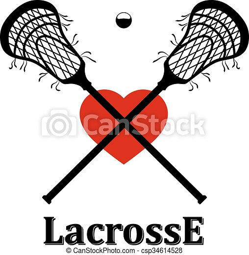 crossed lacrosse stick ball and heart vector illustration vector rh canstockphoto com lacrosse stick clipart lacrosse sticks clipart vector