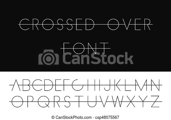 Line Art Letters : Crossed over thin font minimalistic latin letters english