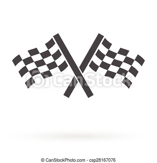 crossed race finish flags icon - csp28167076