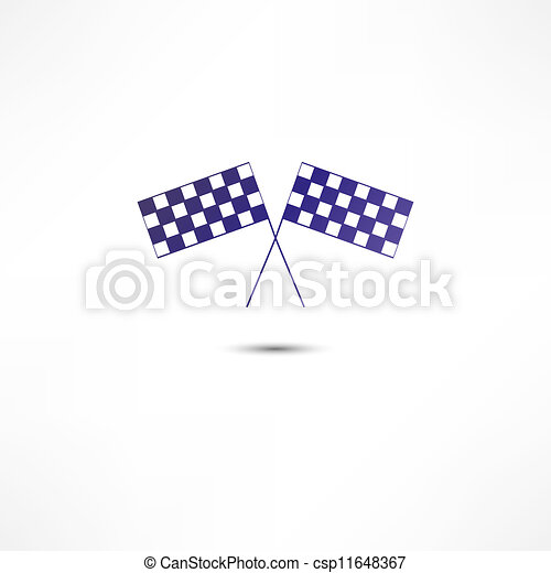crossed racing flags icon - csp11648367