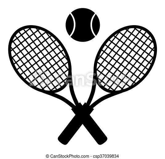 Crossed Racket Black Silhouette - csp37039834