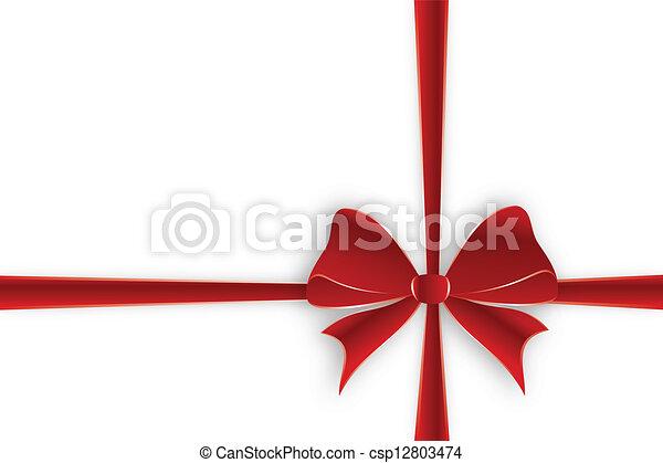 Crossed red ribbon - csp12803474