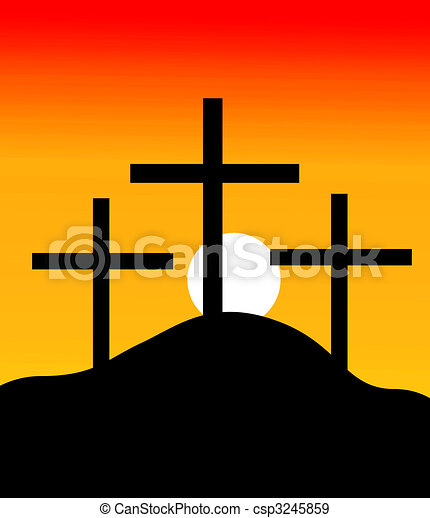 crosses in a hill in sunset - csp3245859