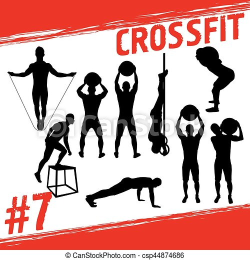 Crossfit Concept Vector Silhouettes Of People Doing Fitness