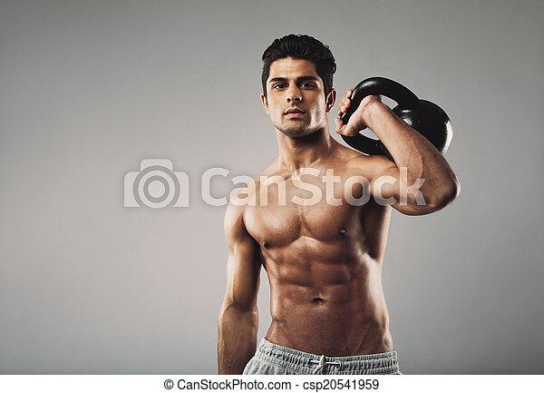 crossfit, workout, gedresseerd, gespierd, kettlebell, man - csp20541959