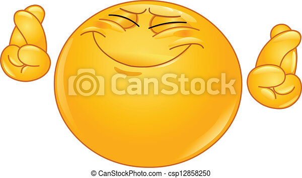 crossing fingers emoticon emoticon hoping hard with crossed fingers rh canstockphoto com fingers crossed emoji clipart Fingers Crossed Funny